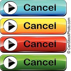 cancelamento, teia, botões