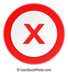 cancele, rojo, círculo, 3d, moderno, diseño, plano, icono, blanco, plano de fondo