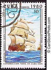 Canceled Cuba Postage Stamp Sant?sima Trinidad Ship of the ...