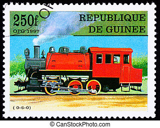 Canceled Guinea Train Postage Stamp Old Railroad Steam Engine Lo