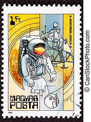 Canceled Hungarian Postage Stamp Apollo 11 Moon Walk Space Suit