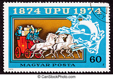 Canceled Hungarian Postage Stamp Mail Delivery Stagecoach...