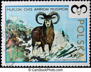 canceled post stamp - POLAND-CIRCA 1973: A post stamp...