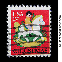canceled postage stamp - post stamp printed in USA shows a...