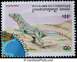 canceled postage stamp - post stamp printed in Cambodia...