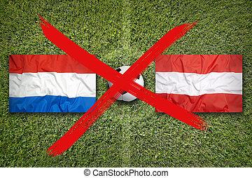 Canceled soccer game, Netherlands vs. Austria flags on ...
