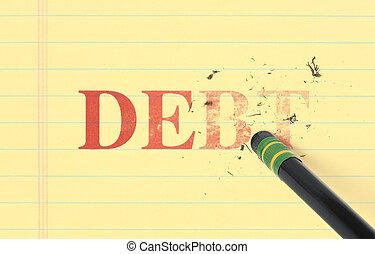 cancellare, debito, libro mastro