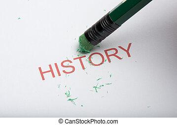 cancellare, matita, carta, parola, 'history'