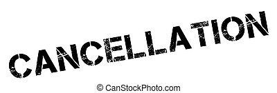Cancellation black rubber stamp on white. Print, impress,...
