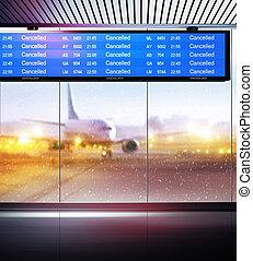 cancellation of planes flights - Tourist info signage...