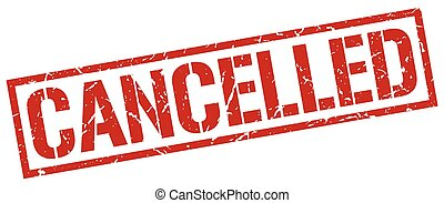cancelled red grunge square vintage rubber stamp
