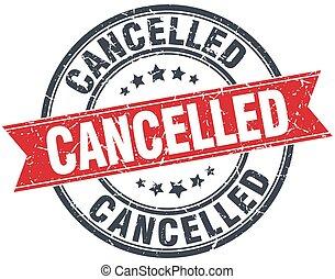 cancelled red round grunge vintage ribbon stamp