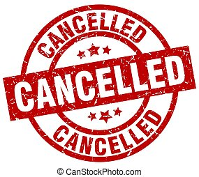 cancelled round red grunge stamp