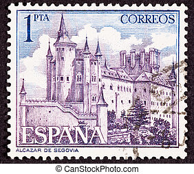 Cancelled Spanish Postage Stamp Segovia Castle, Spain, Ornate Fo