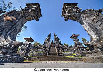 cancelli, a, pura, besakih, balinese, tempio