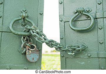 cancelli, immagine, serratura