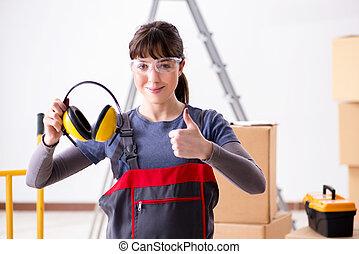 cancelling, γυναίκα , ακουστικά , εργάτης , ανάδοχος έργου , θόρυβος