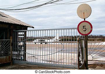 cancello, aeroporto, aereo