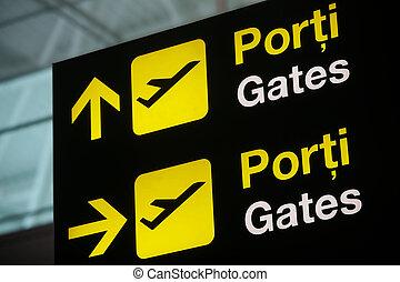 cancello, aeroporto, segno