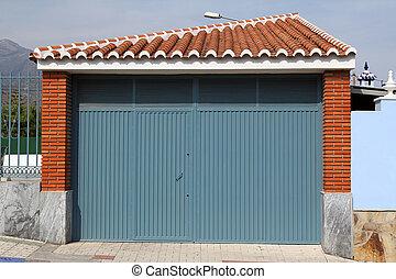 cancello blu, metallo