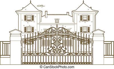 cancello, castello, disegno, dietro
