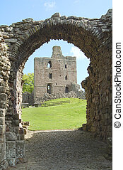 cancello, castello, entrata, norham