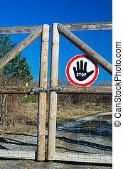 cancello, fermata, chiuso chiave, segno