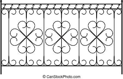 cancello ferro modellato, porta, recinto, finestra, griglia,...