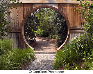 cancello, giardino giapponese