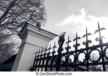 cancello, in, nero bianco