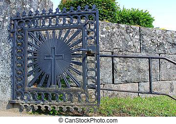 cancello, lavorato, croce, ferro, chiesa
