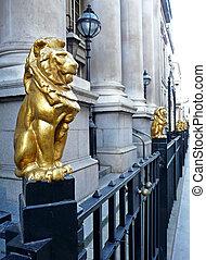 cancello, leone, railings, statue