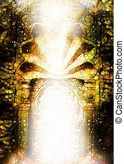 cancello, luce, dimensionale, portale, con, antico, ornamenti, su, side.