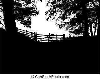 cancello, silhouette, albero