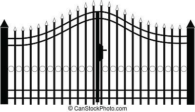 cancello, silhouette, vettore