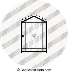 cancello, vettore, silhouette