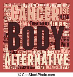 Cancer and Alternative Medicine An Overview text background wordcloud concept
