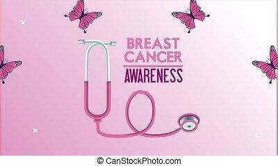 cancer, animation, poitrine, stéthoscope, lettrage