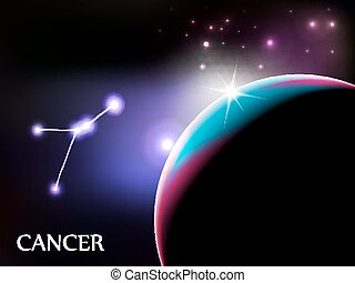 Cancer Astrological Sign and copy space