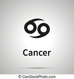 Cancer astronomical sign, simple black icon with shadow