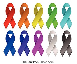 cancer awareness multi-color ribbons