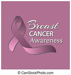 Cancer Awareness Ribbon on pink background. Vector illustration