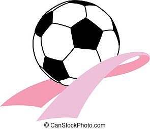Cancer Awareness Ribbon with Soccer Ball - Pink cancer...