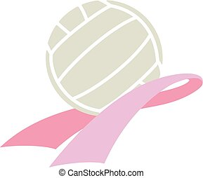 Cancer Awareness Ribbon with Volleyball - Pink cancer ribbon...