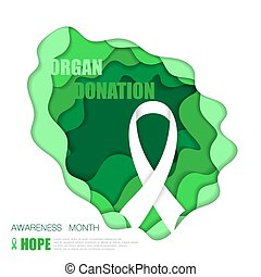 cancer background - Green cut paper background with ribbon...