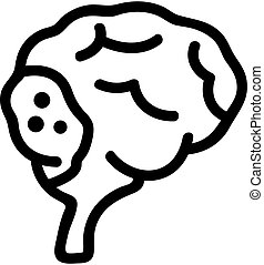 cancer, brain icon vector. Isolated contour symbol illustration