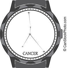 cancer., cadran, montre, zodiaque, signe