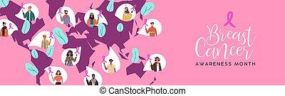 cancer, carte, gens, conscience, divers, mondiale