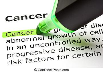 'cancer', destacado, em, verde