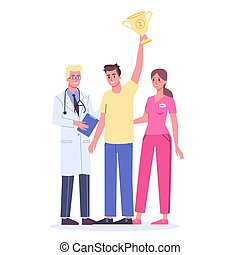 Cancer diagnostics, treatment and rehabilitation concept. Man win a cancer disease. Healthy man holding a winning cup. Vector illustration in cartoon style
